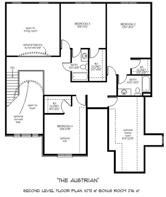 Captivating colonial style two story house plan austrian for Upstairs floor plans