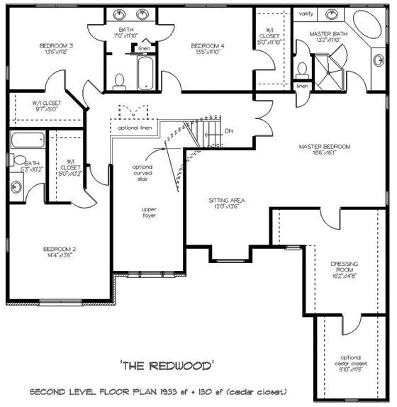 Enchanting colonial style two story house plan redwood for Upstairs floor plans